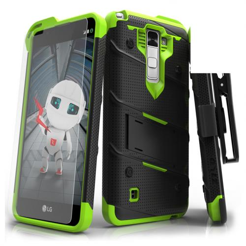 LG Stylo 2 Case - [BOLT] Heavy Duty Cover w/ Kickstand, Holster, Tempered Glass Screen Protector & Lanyard [Black/ Neon Green]