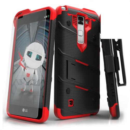 LG Stylo 2 Case - [BOLT] Heavy Duty Cover w/ Kickstand, Holster, Tempered Glass Screen Protector & Lanyard [Black/ Red]