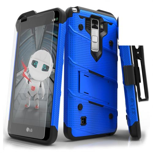 LG Stylo 2 Case - [bolt] Heavy Duty Cover w/ Kickstand, Holster, Tempered Glass Screen Protector & Lanyard [Blue] - (ID:1BOLT-LGLS775-BLBK)