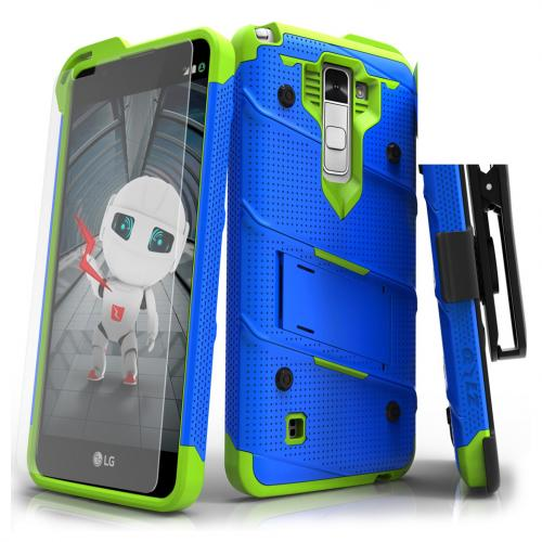 LG Stylo 2 Case - [bolt] Heavy Duty Cover w/ Kickstand, Holster, Tempered Glass Screen Protector & Lanyard [Blue/ Neon Green] - (ID:1BOLT-LGLS775-BLNGR)