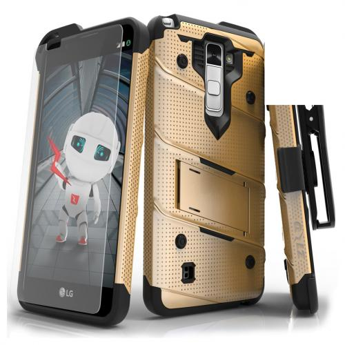 LG Stylo 2 Case - [bolt] Heavy Duty Cover w/ Kickstand, Holster, Tempered Glass Screen Protector & Lanyard [Gold] - (ID:1BOLT-LGLS775-GDBK)