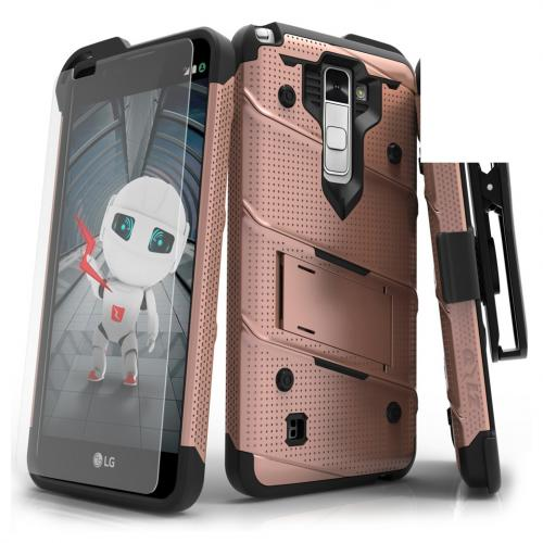 LG Stylo 2 Case - [bolt] Heavy Duty Cover w/ Kickstand, Holster, Tempered Glass Screen Protector & Lanyard [Rose Gold] - (ID:1BOLT-LGLS775-RGDBK)