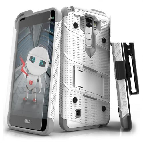 LG Stylo 2 Case - [bolt] Heavy Duty Cover w/ Kickstand, Holster, Tempered Glass Screen Protector & Lanyard [White/ Gray] - (ID:1BOLT-LGLS775-WHGR)