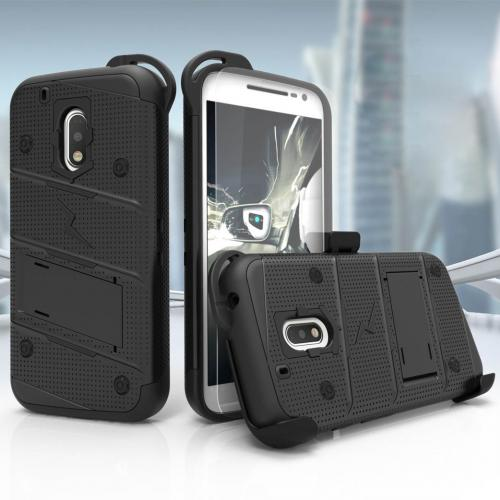 Motorola Moto G4/ Moto G4 Plus Case - [bolt] Heavy Duty Cover w/ Kickstand, Holster, Tempered Glass Screen Protector & Lanyard [Black] - (ID:1BOLT-MOTG4P-BKBK)