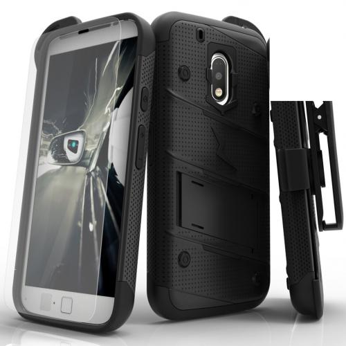 Motorola Moto G4/ Moto G4 Plus Case - [bolt] Heavy Duty Cover w/ Kickstand, Holster, Tempered Glass Screen Protector & Lanyard [Black] - (ID:1BOLT-LGLS775-WHGR)