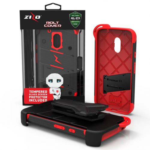 Motorola Moto G4/ Moto G4 Plus Case - [bolt] Heavy Duty Cover w/ Kickstand, Holster, Tempered Glass Screen Protector & Lanyard [Black/ Red] - (ID:1BOLT-MOTG4P-BKRD)