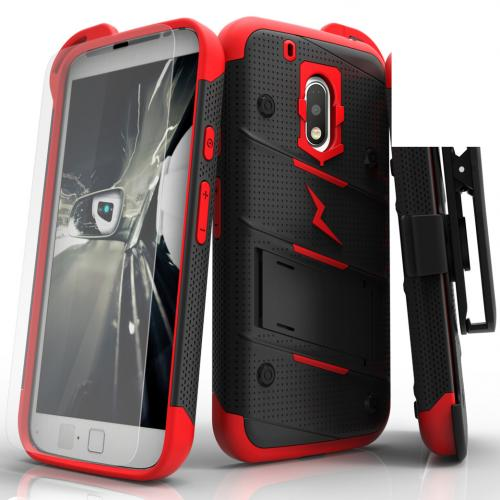 [Motorola Moto G4/ Moto G4 Plus] Case - [BOLT] Heavy Duty Cover w/ Kickstand, Holster, Tempered Glass Screen Protector & Lanyard [Black/ Red]