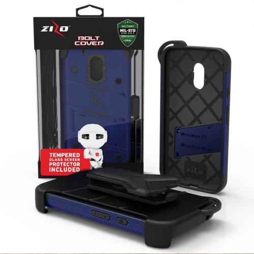 Motorola Moto G4/ Moto G4 Plus Case - [bolt] Heavy Duty Cover w/ Kickstand, Holster, Tempered Glass Screen Protector & Lanyard [Blue/ Black] - (ID: 1BOLT-MOTG4P-BLBK)