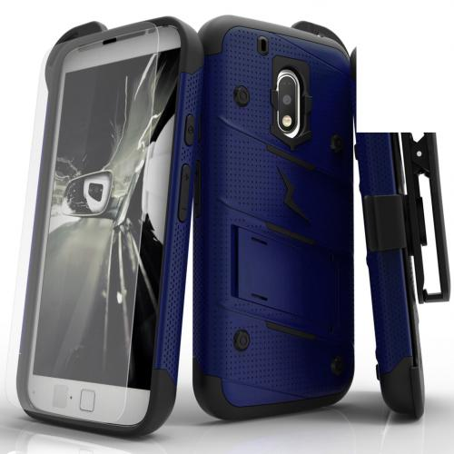 Motorola Moto G4/ Moto G4 Plus Case - [bolt] Heavy Duty Cover w/ Kickstand, Holster, Tempered Glass Screen Protector & Lanyard [Blue/ Black] - (ID: 1BOLT-LGLS775-WHGR)