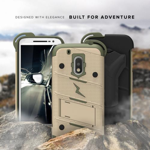 [Motorola Moto G4/ Moto G4 Plus] Case - [BOLT] Heavy Duty Cover w/ Kickstand, Holster, Tempered Glass Screen Protector & Lanyard [Desert Tan/ Camo Green]