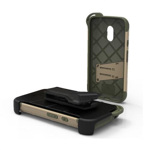 Motorola Moto G4/ Moto G4 Plus Case - [BOLT] Heavy Duty Cover w/ Kickstand, Holster, Tempered Glass Screen Protector & Lanyard [Desert Tan/ Camo Green]