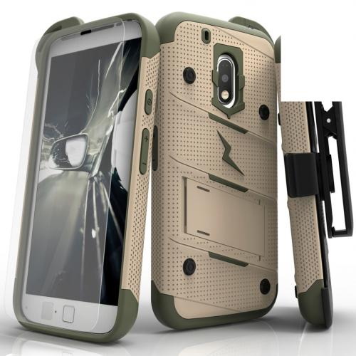 Motorola Moto G4/ Moto G4 Plus Case - [bolt] Heavy Duty Cover w/ Kickstand, Holster, Tempered Glass Screen Protector & Lanyard [Desert Tan/ Camo Green] - (ID:1BOLT-MOTG4P-DTCG)