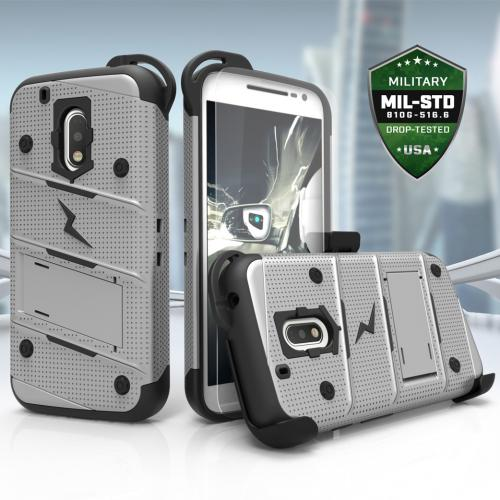 Motorola Moto G4/ Moto G4 Plus Case - [bolt] Heavy Duty Cover w/ Kickstand, Holster, Tempered Glass Screen Protector & Lanyard [Gray/ Black] - (ID:1BOLT-MOTG4P-GRBK)