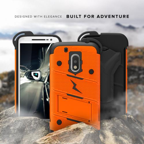 [Motorola Moto G4/ Moto G4 Plus] Only.  Will not fit Moto G4 Play Case - [BOLT] Heavy Duty Cover w/ Kickstand, Holster, Tempered Glass Screen Protector & Lanyard [Orange/ Black]