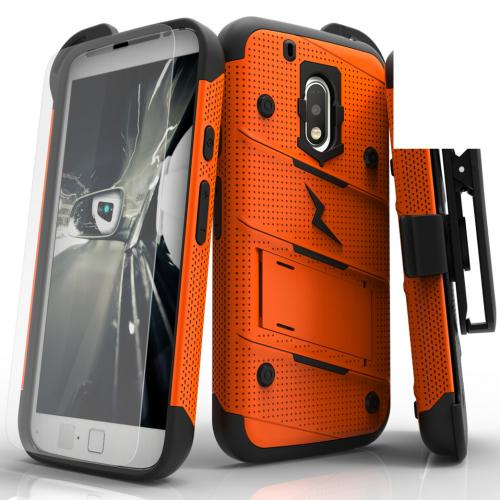 Motorola Moto G4/ Moto G4 Plus Only.  Will not fit Moto G4 Play Case - [bolt] Heavy Duty Cover w/ Kickstand, Holster, Tempered Glass Screen Protector & Lanyard [Orange/ Black] - (ID:1BOLT-MOTG4P-ORBK)