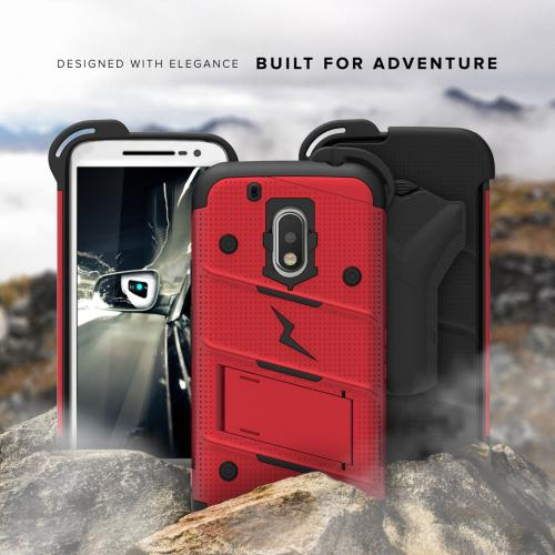 Motorola Moto G4/ Moto G4 Plus **Does NOT work with MOTO G4 PLAY** Case - [bolt] Heavy Duty Cover w/ Kickstand, Holster, Tempered Glass Screen Protector & Lanyard [Red/ Black] - (ID:1BOLT-MOTG4P-RDBK)