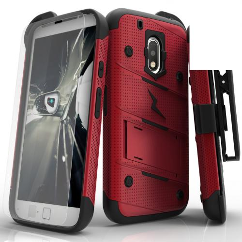 [Motorola Moto G4/ Moto G4 Plus **Does NOT work with MOTO G4 PLAY**] Case - [BOLT] Heavy Duty Cover w/ Kickstand, Holster, Tempered Glass Screen Protector & Lanyard [Red/ Black]