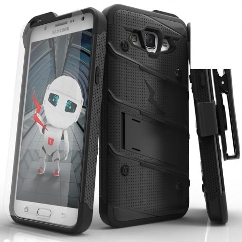 Samsung Galaxy J7 (2015) Case - [BOLT] Heavy Duty Cover w/ Kickstand, Holster, Tempered Glass Screen Protector & Lanyard [Black]