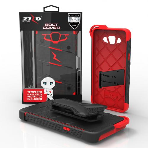 Samsung Galaxy J7 (2015) Case - [BOLT] Heavy Duty Cover w/ Kickstand, Holster, Tempered Glass Screen Protector & Lanyard [Black/ Red] - (ID:1BOLT-SAMGJ715-BKRD)