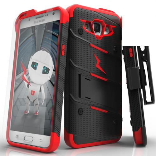 Samsung Galaxy J7 (2015) Case - [BOLT] Heavy Duty Cover w/ Kickstand, Holster, Tempered Glass Screen Protector & Lanyard [Black/ Red]