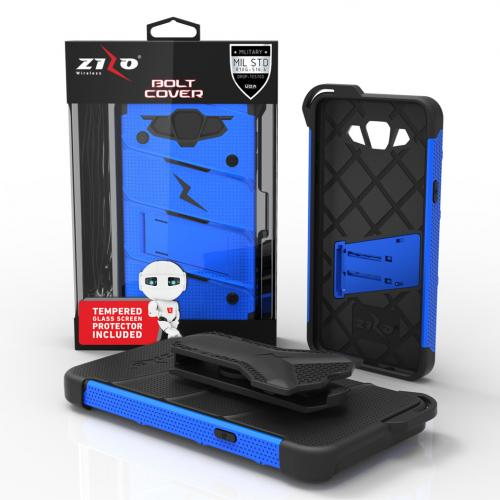Samsung Galaxy J7 (2015) Case - [BOLT] Heavy Duty Cover w/ Kickstand, Holster, Tempered Glass Screen Protector & Lanyard [Blue/ Black] - (ID:1BOLT-SAMGJ715-BLBK)