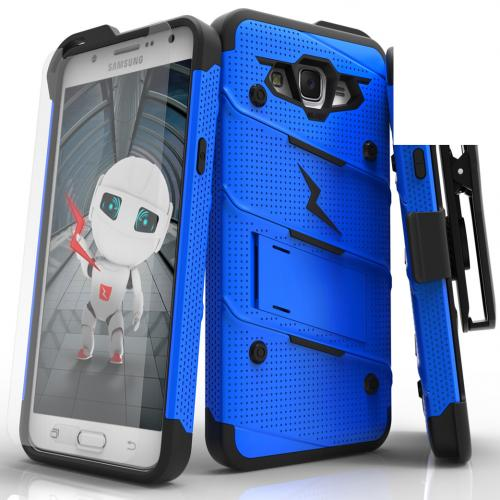 Samsung Galaxy J7 (2015) Case - [BOLT] Heavy Duty Cover w/ Kickstand, Holster, Tempered Glass Screen Protector & Lanyard [Blue/ Black]