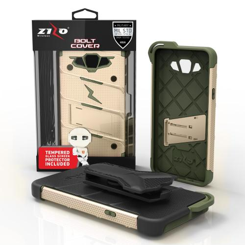 Samsung Galaxy J7 (2015) Case - [BOLT] Heavy Duty Cover w/ Kickstand, Holster, Tempered Glass Screen Protector & Lanyard [Desert Tan/ Camo Green] - (ID:1BOLT-SAMGJ715-DTCG)