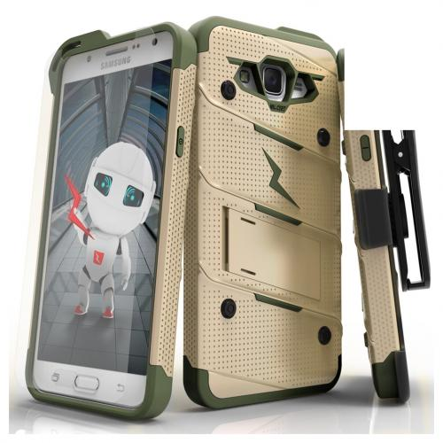 Samsung Galaxy J7 (2015) Case - [BOLT] Heavy Duty Cover w/ Kickstand, Holster, Tempered Glass Screen Protector & Lanyard [Desert Tan/ Camo Green]