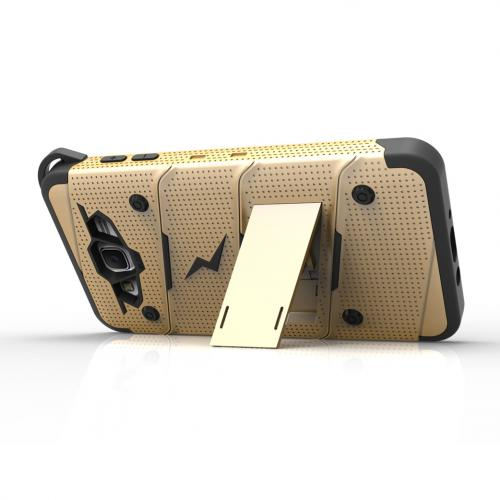 Samsung Galaxy J7 (2015) Case - [bolt] Heavy Duty Cover w/ Kickstand, Holster, Tempered Glass Screen Protector & Lanyard [Gold/ Black] - (ID:1BOLT-SAMGJ715-GDBK)