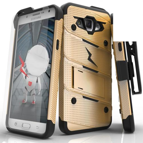 Samsung Galaxy J7 (2015) Case - [BOLT] Heavy Duty Cover w/ Kickstand, Holster, Tempered Glass Screen Protector & Lanyard [Gold/ Black]