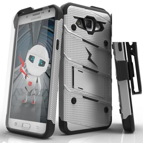 Samsung Galaxy J7 (2015) Case - [BOLT] Heavy Duty Cover w/ Kickstand, Holster, Tempered Glass Screen Protector & Lanyard [Gray/ Black]