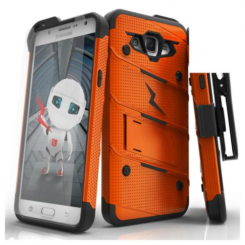 Samsung Galaxy J7 (2015) Case - [bolt] Heavy Duty Cover w/ Kickstand, Holster, Tempered Glass Screen Protector & Lanyard [Orange/ Black] - (ID:1BOLT-SAMGJ715-GRBK)