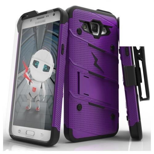 Samsung Galaxy J7 (2015) Case - [bolt] Heavy Duty Cover w/ Kickstand, Holster, Tempered Glass Screen Protector & Lanyard [Purple/ Black] - (ID:1BOLT-SAMGJ715-GRBK)