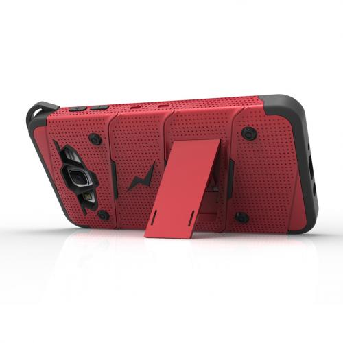 Samsung Galaxy J7 (2015) Case - [bolt] Heavy Duty Cover w/ Kickstand, Holster, Tempered Glass Screen Protector & Lanyard [Red/ Black] - (ID:1BOLT-SAMGJ715-RDBK)