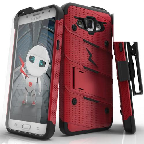 Samsung Galaxy J7 (2015) Case - [BOLT] Heavy Duty Cover w/ Kickstand, Holster, Tempered Glass Screen Protector & Lanyard [Red/ Black]