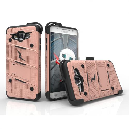 Samsung Galaxy J7 (2015) Case - [bolt] Heavy Duty Cover w/ Kickstand, Holster, Tempered Glass Screen Protector & Lanyard [Rose Gold/ Black] - (ID:1BOLT-SAMGJ715-RGDBK)