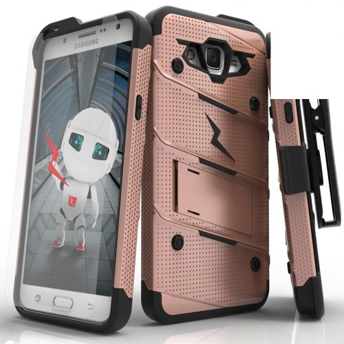 [Samsung Galaxy J7] (2015) Case - [BOLT] Heavy Duty Cover w/ Kickstand, Holster, Tempered Glass Screen Protector & Lanyard [Rose Gold/ Black]