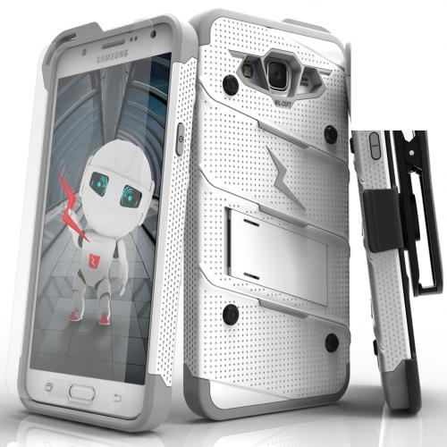 Samsung Galaxy J7 (2015) Case - [bolt] Heavy Duty Cover w/ Kickstand, Holster, Tempered Glass Screen Protector & Lanyard [White/ Gray] - (ID: 1BOLT-SAMGJ715-WHGR)