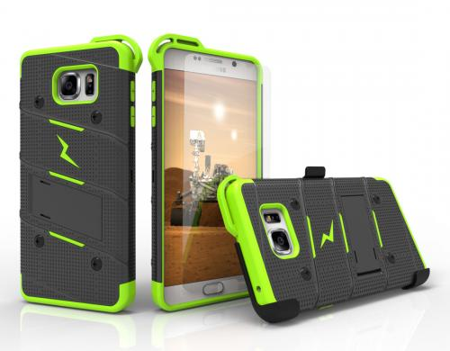 Samsung Galaxy Note 5 Case - [bolt] Heavy Duty Cover w/ Kickstand, Holster, Tempered Glass Screen Protector & Lanyard [Black/ Neon Green] - (ID: 1BOLT-SAMGN5-BKNGR)