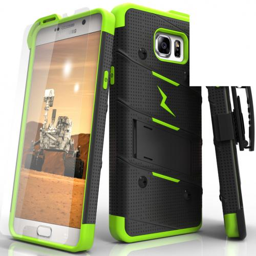Samsung Galaxy Note 5 Case - [BOLT] Heavy Duty Cover w/ Kickstand, Holster, Tempered Glass Screen Protector & Lanyard [Black/ Neon Green]