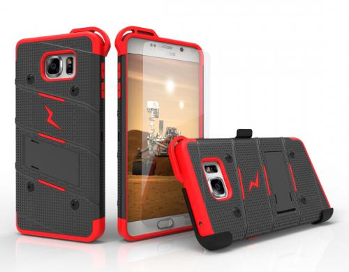 [Samsung Galaxy Note 5] Case - [BOLT] Heavy Duty Cover w/ Kickstand, Holster, Tempered Glass Screen Protector & Lanyard [Black/ Red]