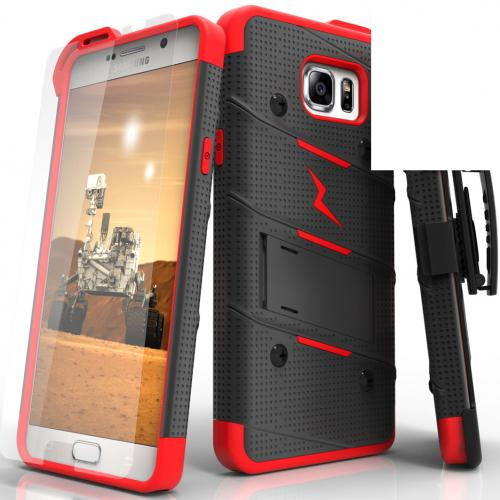 Samsung Galaxy Note 5 Case - [bolt] Heavy Duty Cover w/ Kickstand, Holster, Tempered Glass Screen Protector & Lanyard [Black/ Red] - (ID: 1BOLT-SAMGN5-BKRD)