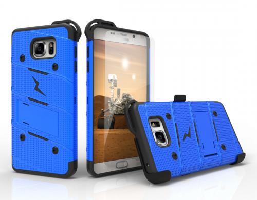 Samsung Galaxy Note 5 Case - [BOLT] Heavy Duty Cover w/ Kickstand, Holster, Tempered Glass Screen Protector & Lanyard [Blue/ Black]