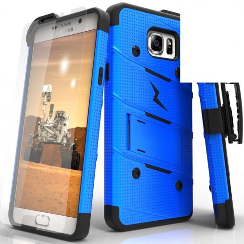 Samsung Galaxy Note 5 Case - [bolt] Heavy Duty Cover w/ Kickstand, Holster, Tempered Glass Screen Protector & Lanyard [Blue/ Black] - (ID:1BOLT-SAMGN5-BLBK)