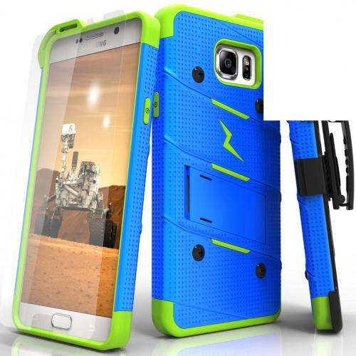 Samsung Galaxy Note 5 Case - [bolt] Heavy Duty Cover w/ Kickstand, Holster, Tempered Glass Screen Protector & Lanyard [Blue/ Neon Green] - (ID: 1BOLT-SAMGN5-BLNGR)