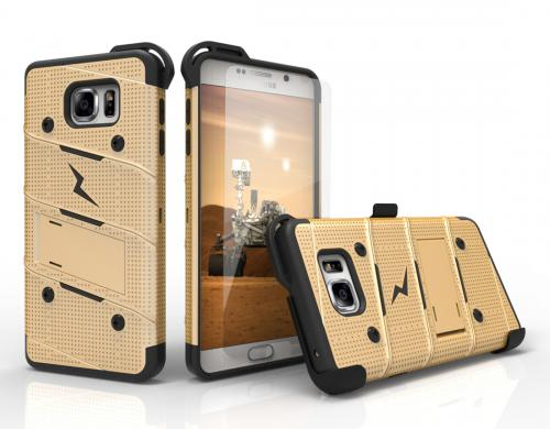 Samsung Galaxy Note 5 Case - [bolt] Heavy Duty Cover w/ Kickstand, Holster, Tempered Glass Screen Protector & Lanyard [Gold/ Black] - (ID: 1BOLT-SAMGN5-GDBK)