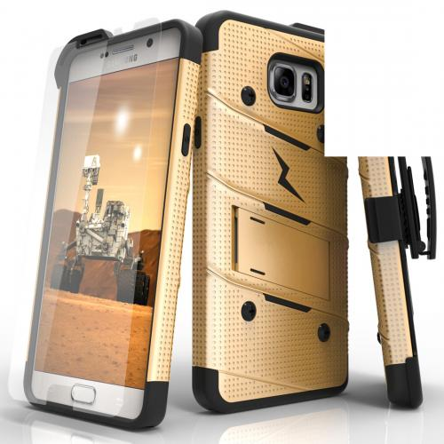[Samsung Galaxy Note 5] Case - [BOLT] Heavy Duty Cover w/ Kickstand, Holster, Tempered Glass Screen Protector & Lanyard [Gold/ Black]