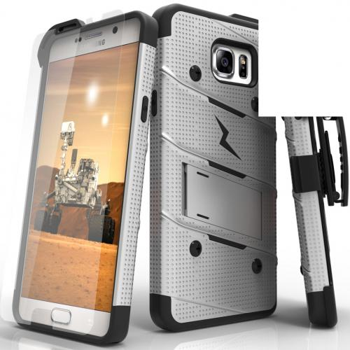 Samsung Galaxy Note 5 Case - [bolt] Heavy Duty Cover w/ Kickstand, Holster, Tempered Glass Screen Protector & Lanyard [Gray/ Black] - (ID: 1BOLT-SAMGN5-GRBK)