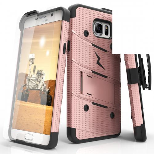 Samsung Galaxy Note 5 Case - [BOLT] Heavy Duty Cover w/ Kickstand, Holster, Tempered Glass Screen Protector & Lanyard [Rose Gold/ Black]