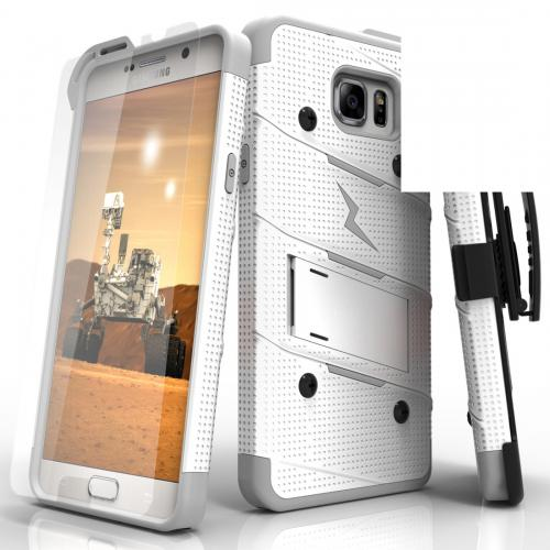 [Samsung Galaxy Note 5] Case - [BOLT] Heavy Duty Cover w/ Kickstand, Holster, Tempered Glass Screen Protector & Lanyard [White/ Gray]